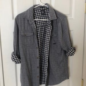 Volcom navy and grey button down